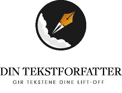 Din Tekstforfatter logo med motto under.