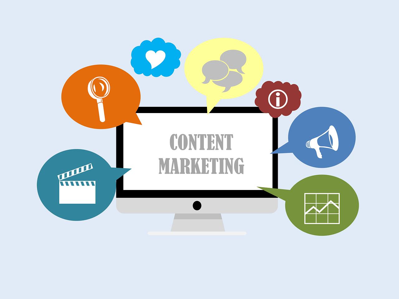 Mange forskjellige programmer og elementer inngår i innholdsmarkedsføring.